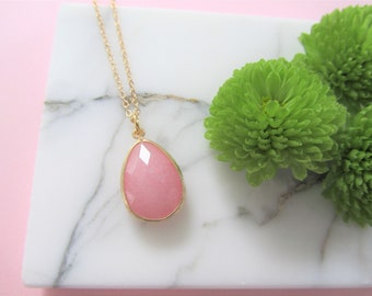 Pink Gemstone Pendant Necklace, Bridesmaids Necklace, Wedding Jewelry, Gift for Her, Thank You Gift, Mother of the Bride, Stone Necklace