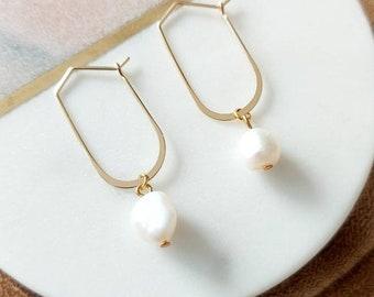 Pearl Dangle Hoop Earrings, Charm Hoop Earrings, Gold Huggie Earrings, Small Hoop Earrings, Gold Hoops, Boho Earrings, Mothers Day