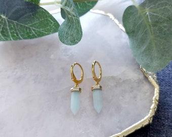 Aventurine Earrings, Gold Huggie Earrings, Gemstone Earring, Small Hoop Earrings, Gold Hoops, Boho Earrings, Aventurine Jewellery