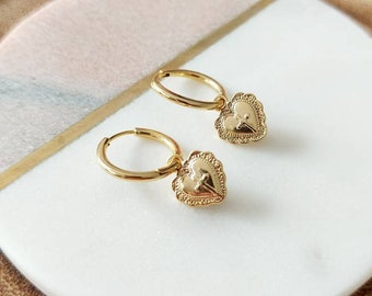 Small Gold Heart Hoop Earrings, Hoop and Charm Earrings, Cross Heart Earrings, Gold Earrings, Small Hoops, Valentines Day Gifts