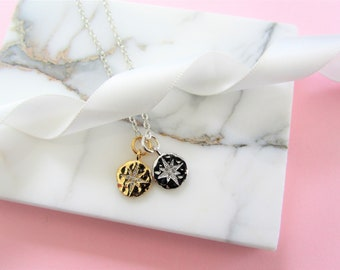 Double Star Disc Necklace, Gold Coin Necklace, Delicate Charm Necklace, Gift for Her, Birthday Gift, Bridesmaids Gifts Necklace, Gold Silver