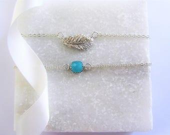 Delicate Silver Feather and Gemstone Bracelet, Bracelet Gift Set, Silver Feather Bracelet, Gemstone Bracelet, Bridesmaids Gift Set