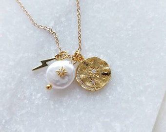 Pearl Opal Star, Moon and Lightening Bolt Necklace Charm Necklace, Celestial Necklace Gift