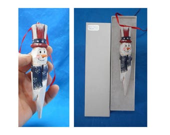 Hand Carved Patriotic Snowman Christmas Ornament #17235