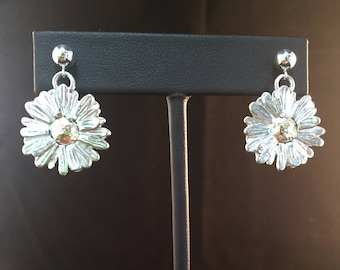 Marguerite Daisy Earrings on Posts Sterling Silver and 10k Gold