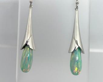 Australian Opal And Sterling Silver Dangle Tulip Earrings