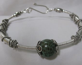 Wire Wrapped Handmade Ceramic and SS Bracelet