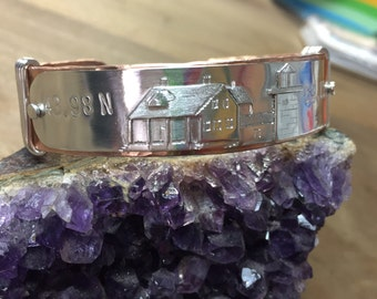 Whitehead Light Station, Penobscot, ME Coordinate Cuff Sterling Silver and Copper