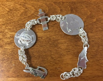 Hilton Head Island Chainmaille Charm Bracelet