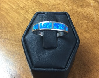 Australian  Blue Opal Inlaid Ring Size 9