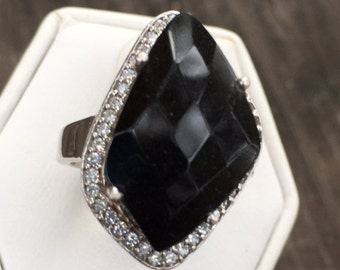 Sterling Silver and Black Faceted Onyx Ring Size 6 3/4