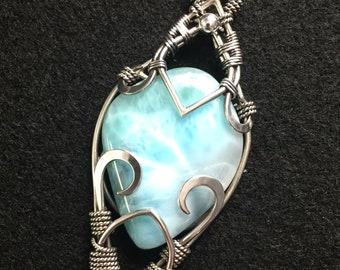 Larimar Statement Necklace Wrapped in Sterling Silver