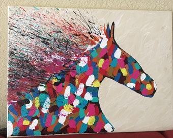 The Race Horse Painting Acrylic on Canvas