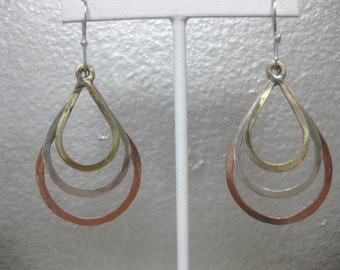 Tri-Metal Teardrop Hammered Hoop Earrings