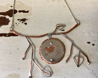 Copper and Sterling Bird on a Branch Necklace