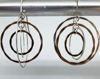 Copper, Sterling and Brass Hammered Circle Earrings