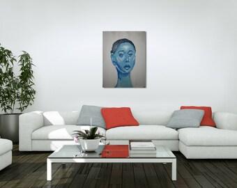 Blue Lady Original Artwork on Wood Panel 16 x 20