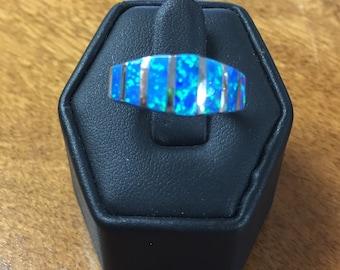 Australian  Blue Opal Inlaid Ring Size 7