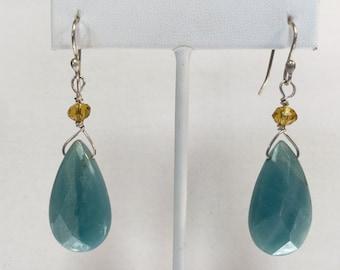 Amazonite Teardrop Dangle Earrings with Crystals