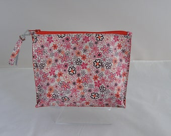 Leather floral cosmetic case