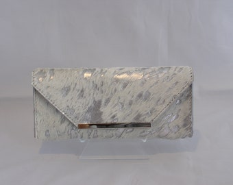 Leather Clutch in Silver Metallic hair on leather
