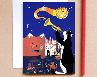 Jazz Cats Greeting Card - Crazy Cats - Seaside Card - Fantasy Card - Childrens Card - Cat Card - Cool Cats - Cards for Cat Lovers