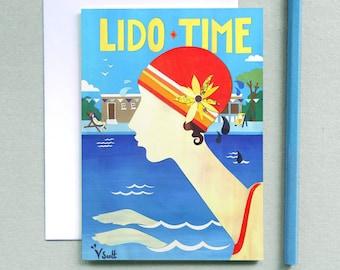 Lido Time - Vintage Card- Art Deco Card - Retro Card - Swimming Art - 1920's Card - Lido Card - Art Deco Swimmers - Vintage Illustration