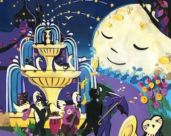 Night Gardens - Limited Edition Print - Jazz Cats Art Print - Night Time Print - Cat Illustration - Brighton Art Print