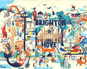 A4 Print - Brighton & Hove Map - Brighton Illustration - Map Illustration - Brighton Art - Illustrated Map - Brighton Map