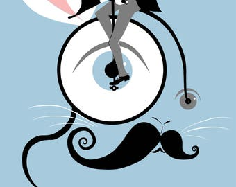 A3 Curious Mr Rabbit Illustration - Cool Screen print - Rabbit Print - Rabbit Art - Hipster Art - Retro Art