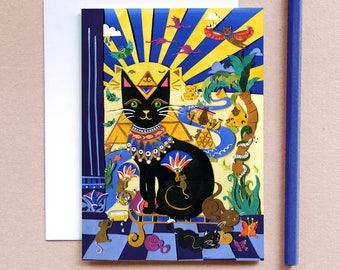 Carry on Cleo Cat Greeting Card - Kitty Greeting Card - Card for Cat Lovers - Egyptian Cat Card - Card for Teenagers - Crazy Cat Person Card