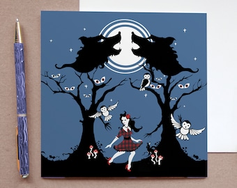 Things that Go Bump in the Night - Owl Greetings Card - Spooky Card - Wolf Card - Owl Illustration - Gothic Greetings Card