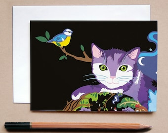 The Witch & the Rainbow Cat Greetings Card- Cat Card - Childrens Card - Animal Card - Cat Art - Cards for Cat Lovers