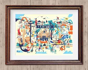 Brighton & Hove Map - Brighton Illustration - Brighton Art - Illustrated Map - Brighton Map - A4 Print - Kids Map - Best of Brighton