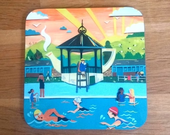 Hathersage Coaster - Peak District Coaster - Peak District Gifts - Swimming Pool Coaster - Gift for Swimmer