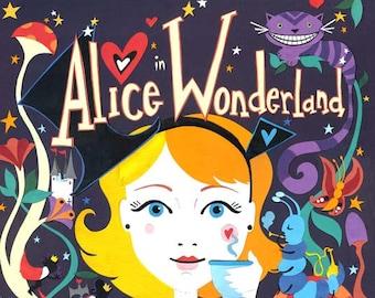 Alice in Wonderland Art Print -  Limited Edition Print - Alice in Wonderland Illustration - Rabbit Print - Cat Print