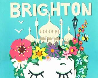 Brighton in Bloom - Limited Edition Print - Brighton Art Print  - Brighton Illustration