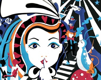 Alice in Wonderland Party Print- Alice in Wonderland Illustration - Alice in Wonderland Art -  Alice in Wonderland Print