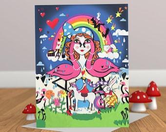 Alice in Rainbowland Card - Alice in Wonderland Card - Card for her - Unicorn Card - Flamingo Card