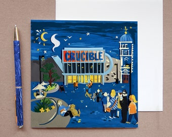 Crucible Theatre Card - Sheffield Greeting Cards - Sheffield Art - Snooker Lovers Card - Sheffield Illustration - Sheffield Architecture