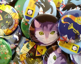 Cat Badge Pin - Cute Badge Pin- Animal Badge Pin - Wearable Art