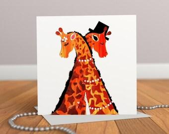 Giraffe Card - Engagements, Weddings, Anniversaries - Animal Card - Love Card