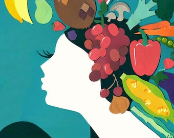 Hegemone Fruit Art Print - Limited Edition Print - Retro Art Print - Art Deco Print - Fruit Print - Fruit Illustration
