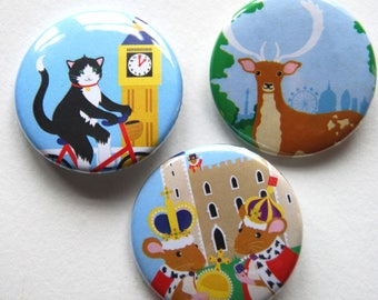 Animal Badges - Cat Badge - Deer Badge - London Badges - Mouse Badge - Wearable Art - Stocking Stuffer - Gifts for Cat Lovers - Kids Badge