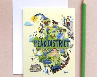 Peak District Greeting Card - Peak District Map - Map Illustration - Illustrated Map - Sheffield Greeting Card - Peak District Greeting Art