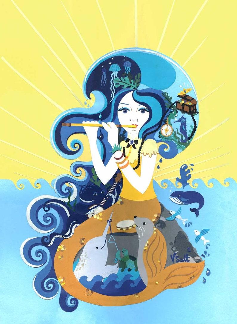 Little Mermaid Art Print  Fairytale Art Print  Seaside Art image 0
