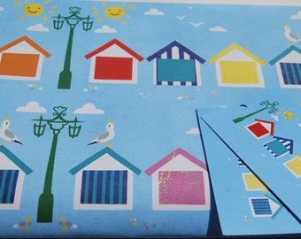 Beach Hut Wrapping Paper - Brighton Gift Wrap - Beach Hut Gift Wrap - Recycled Wrapping Paper - Seaside gift wrap - Seagull Gift Wrap