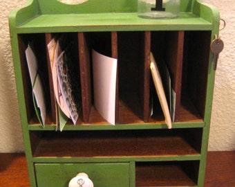 Rustic - Vintage - Organic Green Desk Organizer