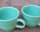 Two Homer Laughlin Fiestaware Sea Mist Green Coffee Mugs