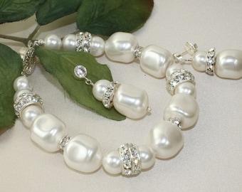 Swarovski Baroque Pearl and Rhinestone Bridal Bracelet plus Earring Set